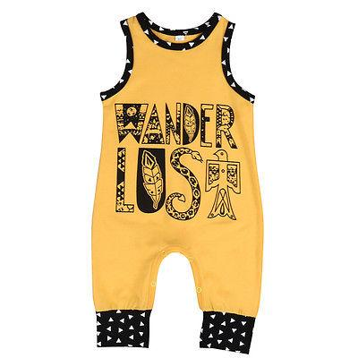 Wander Lost Yellow Romper Summer Sleeveless Cotton Jumpsuit