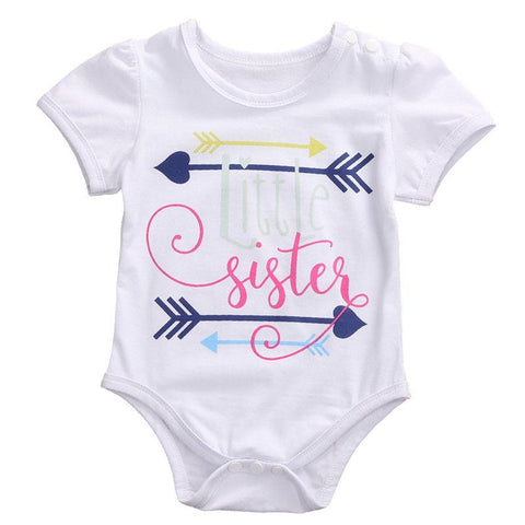 Little Sister Romper Newborn Infant Baby Girl Summer Short Sleeve Cotton Outfit Baby > Rompers and Jumpsuits - KidNappy
