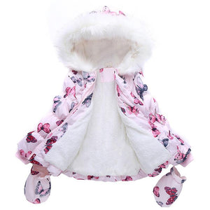 Abreeze High Quality Fashion Girls Winter Coat + Gloves 2pcs Set Butterfly Hooded Zipper Fleeced Baby Girl Winter Jackets girls Jackets - KidNappy