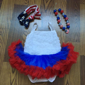 baby girl bodysuit fourth of july patriotic rompers with headband and necklace Girl > Dresses - KidNappy