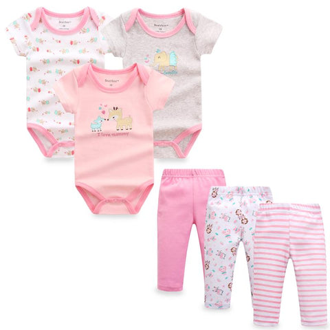 Summer Baby Clothes 6 Pieces/set Baby Rompers Pants Cotton Newborn Baby Clothing Sets Baby > Rompers and Jumpsuits - KidNappy