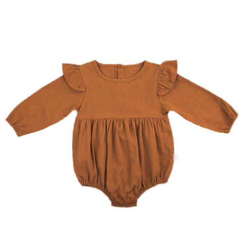 Infant Baby Girl Butterfly Long Sleeve Romper Toddler Kids Solid Button Romper