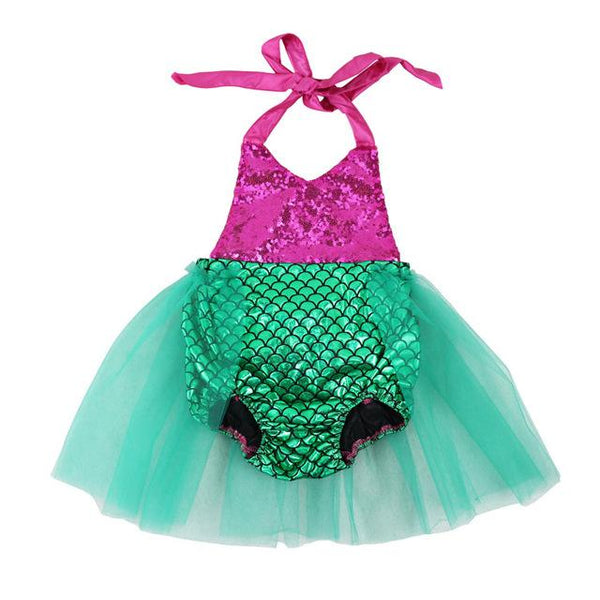 Baby Girls Sequins Tutu Summer Mermaid Baby Rompers Multi Color Toddler Baby Girl Rompers Baby > Rompers and Jumpsuits - KidNappy