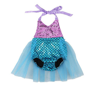 Baby Girls Sequins Tutu Summer Toddler Mermaid Romper Baby > Rompers and Jumpsuits > Mermaid - KidNappy