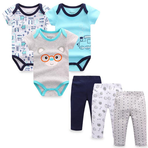 6 pieces/set Newborn Baby Clothes Pants Infant Short Sleeve Baby Bodysuits Baby Clothing Sets Baby > Rompers and Jumpsuits - KidNappy
