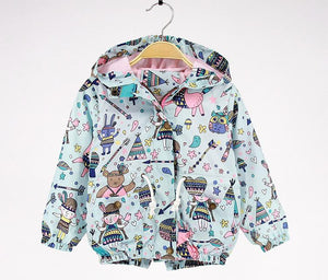 New Summer autumn girls casual kids girls blue color jackets hooded jackets for girls