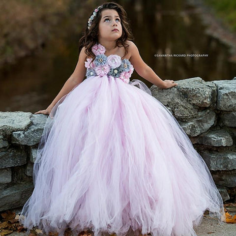 Pink and Grey Flower Girl Tutu Dress Wedding Tulle Dress Girls Wedding Dresses Robe Demoiselle D'honneur Rose Fille Kids Dress Girl > Party Wears > Tutu Gowns - KidNappy