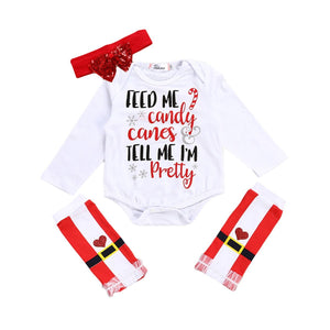 Feed Me Candy Canes Tell Me Am Pretty Xmas Baby 3 Pieces Set
