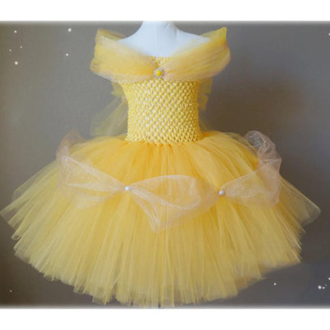 Inspired Belle Dress Beauty and The Beast Princess Dress 2-10y Girl Off Shoulder Tutu Dress Halloween Baby Girl Kids Dress Girl > Party Wears > Tutu Gowns - KidNappy