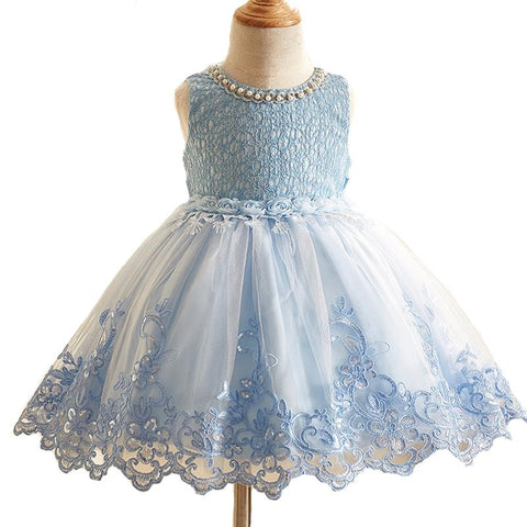 Sequined Flower Girl Dress Kids Pageant Party Wedding Formal Occassion Flower Lace Girls Dress Girl > Dresses - KidNappy
