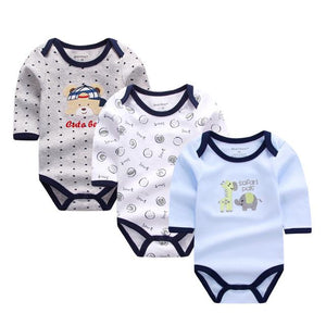 3 Pcs Baby Rompers Long Sleeve Cotton Baby Clothing Overalls for Newborns Baby Clothes Cartoon Bear Infantil Jumpsuit Baby > Rompers and Jumpsuits - KidNappy