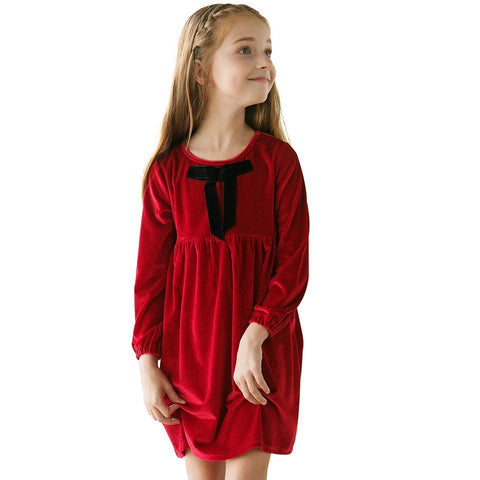Girl Dress Bow Children Clothing Warm Kids Dress Toddler Red Costume Party Wedding Girl > dresses - KidNappy