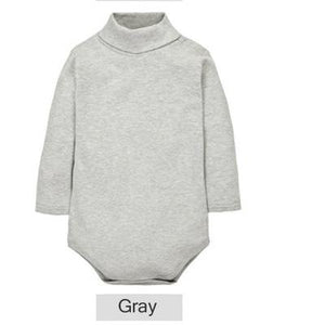 Newborn baby Romper Long Sleeve Infant Romper solid turtleneck Baby Rompers