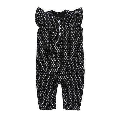 Toddler Newborn Baby Girl Polka Dot Clothes Black Ruffles Button Romper Jumpsuit Outfit Summer Sunsuit Infant Clothing 0-24M