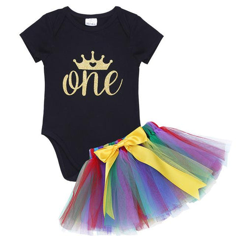 Baby Girls 1st One Birthday Outfit Romper with Tutu Skirt Baby Girls Outfits Girl > Party Wears > Tutu Gowns - KidNappy