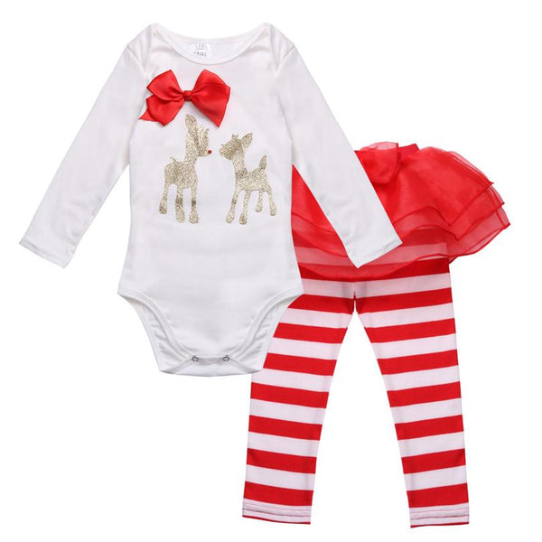 Deer Romper Kid Infant Baby Girls Christmas Outfit with Striped Pants My first Christmas outfits Jumpsuit Costumes Baby > Rompers and Jumpsuits - KidNappy
