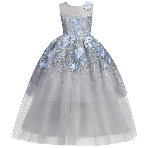 European style dress for girls teenagers butterfly print sleeveless girl party dress Girl > Party Wears > Tutu Gowns, Blue - KidNappy
