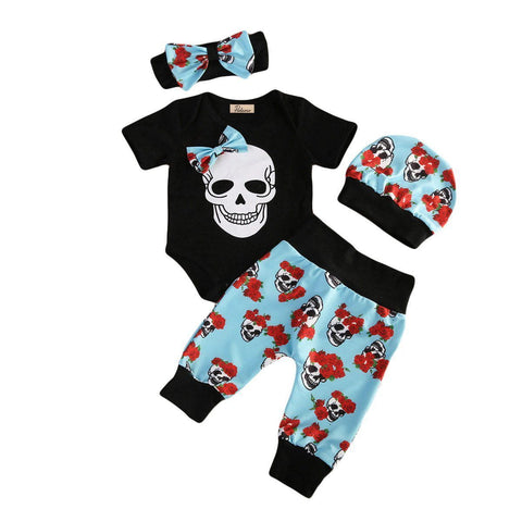 4pcs Kids Baby Boy Halloween Skull Clothes Short Sleeve Cotton Romper Jumpsuit Blue Print Pants Headband Hat Outfit Set Clothing Baby > Rompers and Jumpsuits - KidNappy