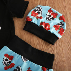 4pcs Baby Halloween Skull Romper Blue Print Pants Headband Hat Outfit Baby > Rompers and Jumpsuits - KidNappy