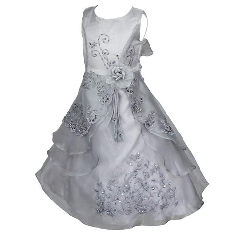 Girls Embroidered Flower Formal Party Ball Gown Prom Bridesmaid Wedding Sleeveless Tutu Dress Girl > Party Wears > Tutu Gowns - KidNappy