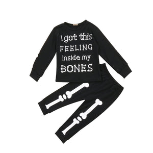 I Got This Feeling Inside My Bones Letters Halloween T-shirt + Pants