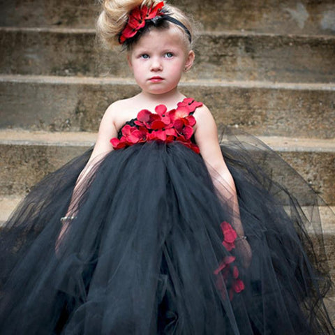 Children's Black and Red Flower Girl Tutu Dress with Flower Headband Girls Wedding Party Dress Baby Girl Tutu Gown Girl > Party Wears > Tutu Gowns - KidNappy