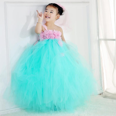 Baby Girls Tutu Flower Girls Baby Wedding Dresses Fancy Party Christmas Halloween Ball Gown Girl > Party Wears > Tutu Gowns - KidNappy