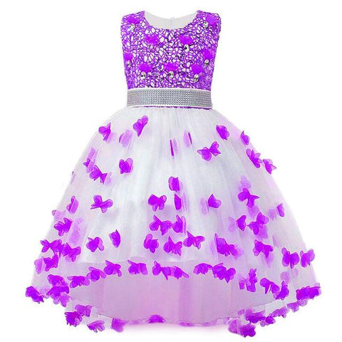 Girl Summer Dress Kids Clothes Flower Girls Dress For Wedding Events Party Baby Girl Birthday Dress Children Clothing Girl > Party Wears > Tutu Gowns, Purple - KidNappy