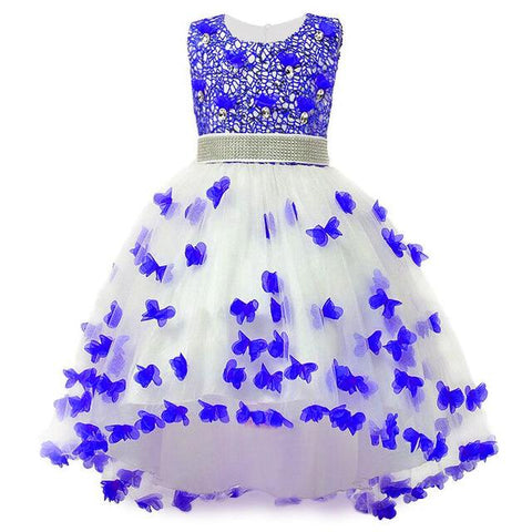 Girl Summer Dress Kids Clothes Flower Girls Dress For Wedding Events Party Baby Girl Birthday Dress Children Clothing Girl > Party Wears > Tutu Gowns, Blue - KidNappy