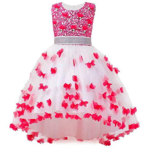 Girl Summer Dress Kids Clothes Flower Girls Dress For Wedding Events Party Baby Girl Birthday Dress Children Clothing Girl > Party Wears > Tutu Gowns, Red - KidNappy