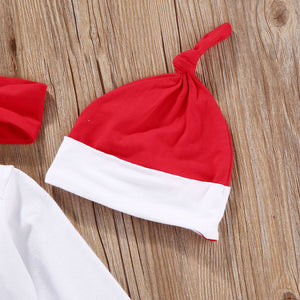 Newborn Baby Girls Santa Christmas Jumpsuit Hat Headband