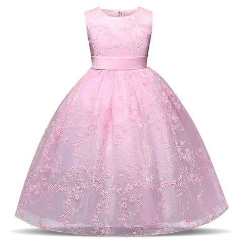 Flower Girl Kid Evening Dress Wedding Bridal Gown Tulle Teen Girl Ceremonies Party Dress Children Clothing Girl 4 Years - 10 Years Girl > Party Wears > Tutu Gowns - KidNappy