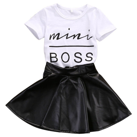 Summer Fashion 2PCS Toddler Infant Kids Girl Clothes Set Mini Boss T-shirt Tops + Leather Skirt  Outfit Child Suit 2 Years - 6 Years Girl > Dresses - KidNappy