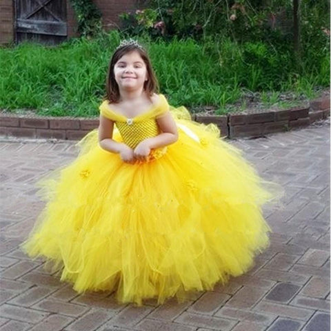 Tutu Dress Baby Kids Fancy Party Christmas Halloween Costumes Beauty Beast Cosplay Dress Flowers Girls Ball Gown
