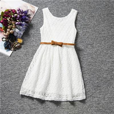 Beautiful Lace Summer Dress with Belt for Girls Girl > Dresses - KidNappy