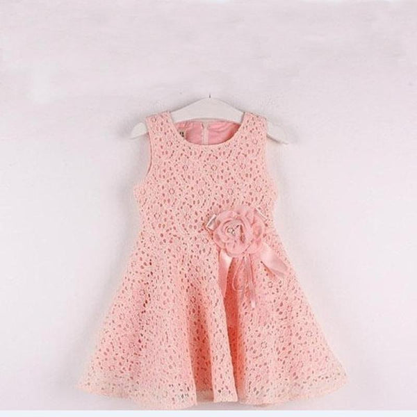 Girls Sleeveless Floral Lace  Dress