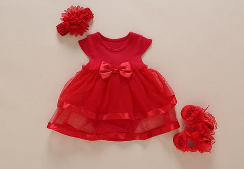 New Born Baby Dress Girl Summer Bow With Rompers+Shoes+Headband Fashion Dresses