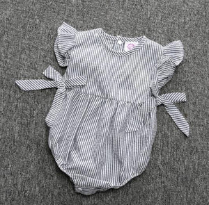 Summer Baby Girls Romper Striped Bow Romper Outfit Sunsuit Sleeveless Romper Baby > Rompers and Jumpsuits - KidNappy