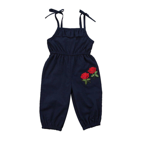 Strap Kids Baby Girls Embroideried Floral Rompers Sleeveless Blue Summer Romper Jumpsuit Playsuit Outfit Clothes