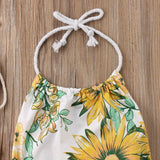 Baby Girl Sunflower Lace Halter Romper Newborn Kids Backless Outfits Baby Clothing Baby > Rompers and Jumpsuits - KidNappy