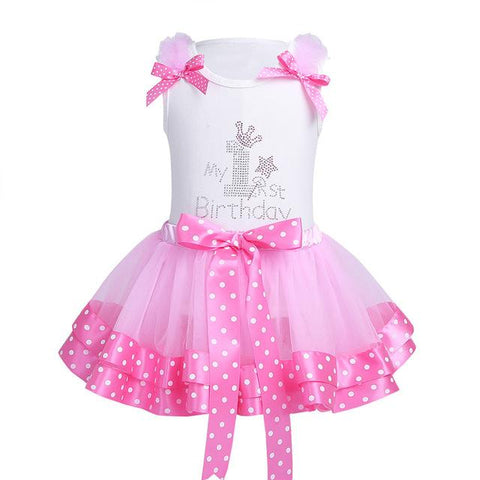 Baby One Year Birthday Dress Romper 1st Birthday Outfit Toddler Girls Party Dress Girl > Party Wears > Tutu Gowns - KidNappy