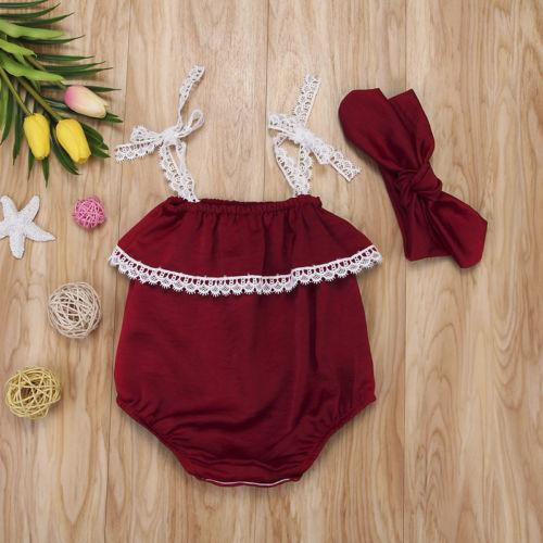 7984a88a5216 Toddler Baby Girls Lace Strap Off Shoulder Romper Jumpsuit Headband Outfits  2Pcs Baby   Rompers and