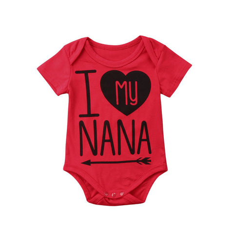 I love my nana Romper Summer Baby Cotton Short Sleeve Red Romper Outfit