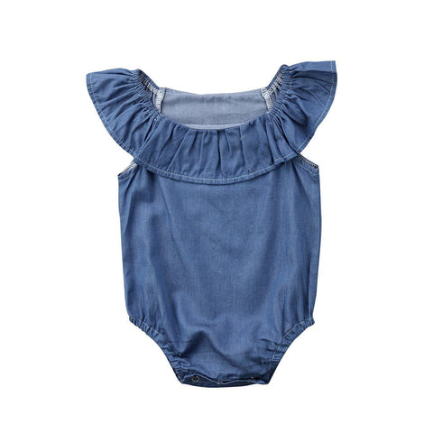 Cute Newborn Baby Girl Summer Denim Romper Outfits Baby > Rompers and Jumpsuits - KidNappy