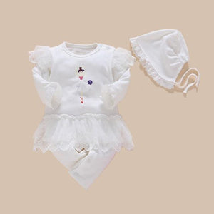 Baby Girls White Rompers Long Sleeve Summer Lace 4pcs/set Baby > Rompers and Jumpsuits > White - KidNappy