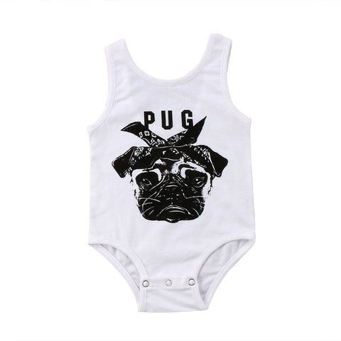 Pug Romper Newborn Baby Bulldog Print Vest Sleeveless Romper Outfit Baby > Rompers and Jumpsuits - KidNappy