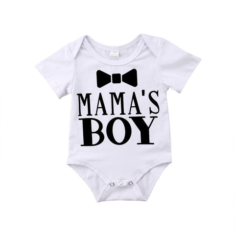 Boy Mama's Boy Romper Newborn Baby White Printed Sleeved Cotton Infant Outfit Baby > Rompers and Jumpsuits - KidNappy