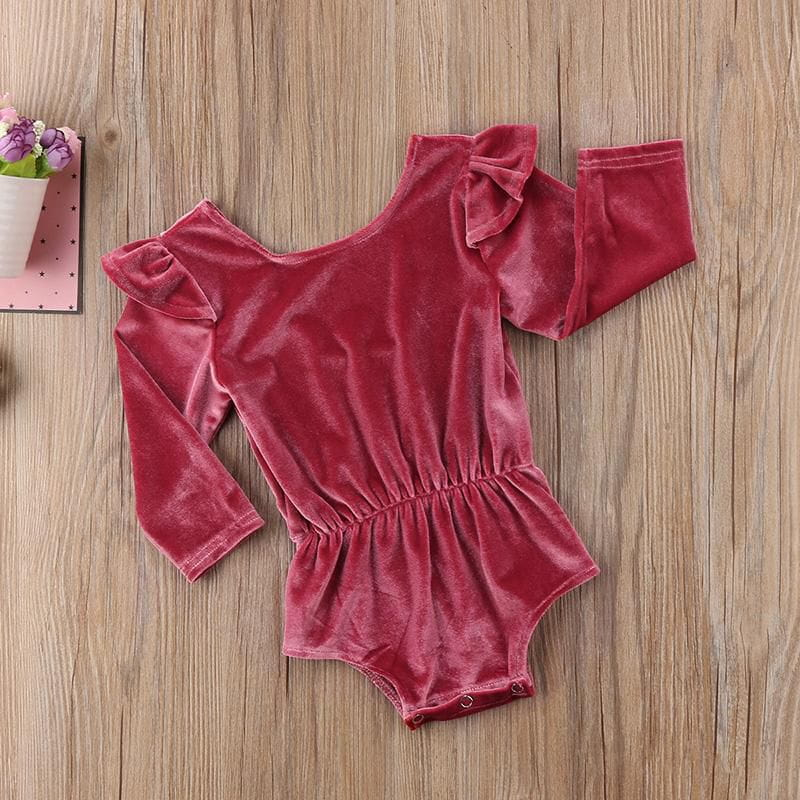 cf1b083e811 Newborn Toddler Baby Girl Velvet Rompers Fashion Long Sleeve Rompers ...