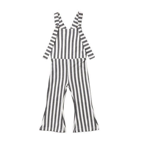Summer Kids Baby Girl Striped Bell Bottom Pants Overalls One-Pieces Strap Rompers Jumpsuit Outfits Clothes Black Gray White