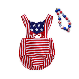 Baby Girl 4th of july outfit summer Romper Pretty Romper newborn girl july 4th outfit set star print with matching necklace Baby > Rompers and Jumpsuits - KidNappy
